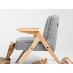 Custom Form Vinc Armchair Silver Natural Wood