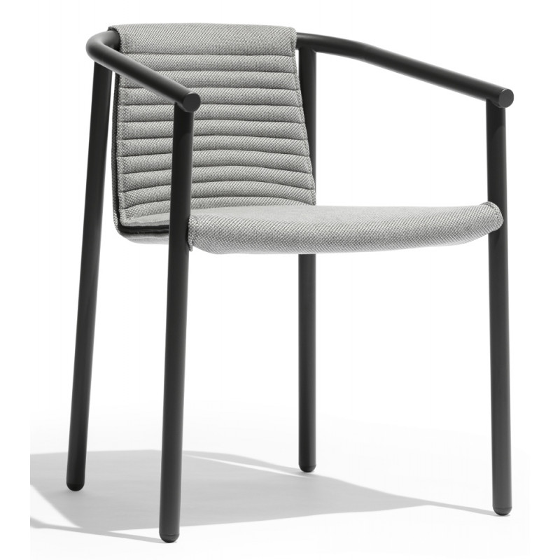 Todus Round Duct Outdoor Dining Chair With Fabric Seat