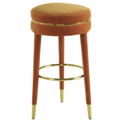 Luxe Bar Stool In Orange Velvet