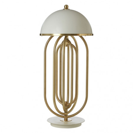Art Deco Table Lamp White Gold
