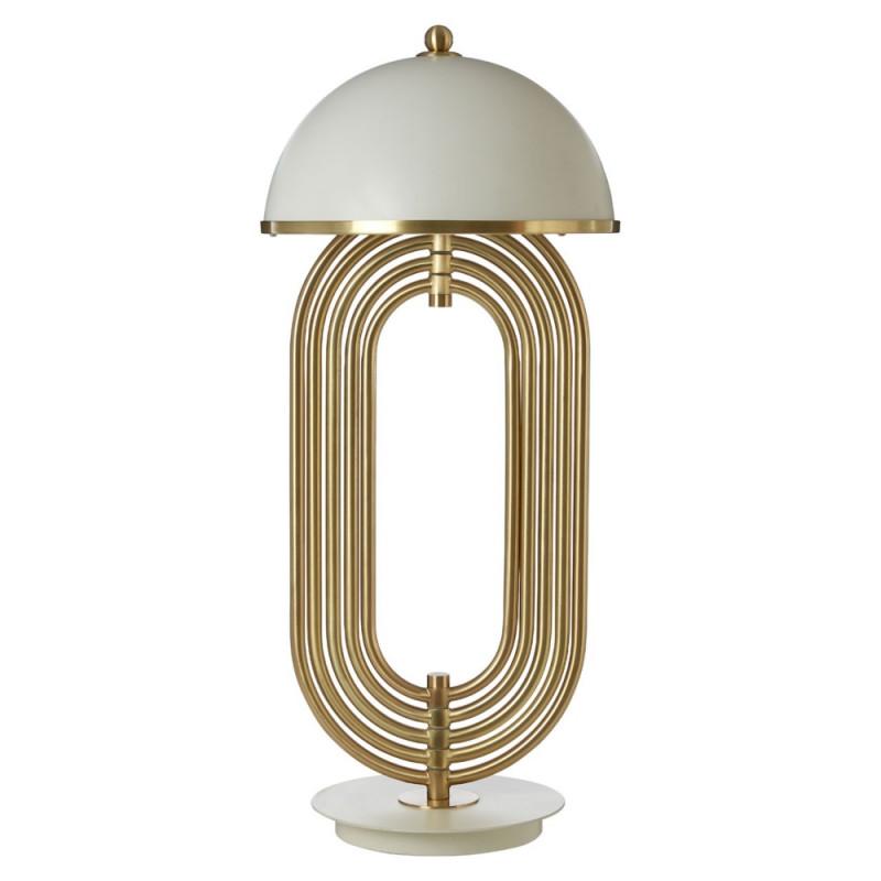 Art Deco Table Lamp White Gold