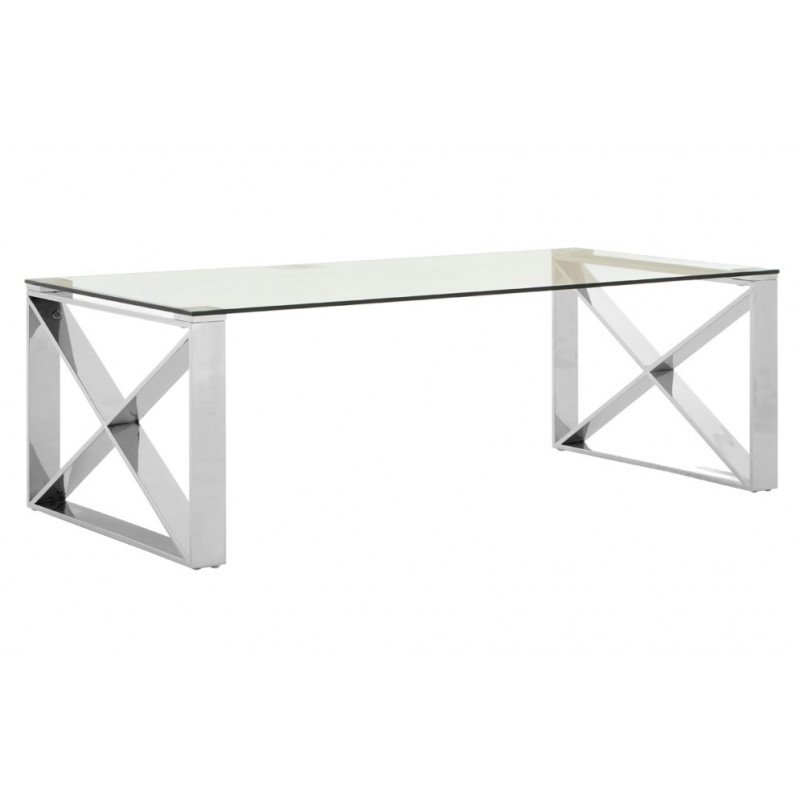 Islington Coffee Table Glass Top | Stainless Steel Base
