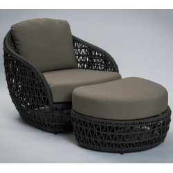Florida Garden Lounge Chair with Footstool Rope