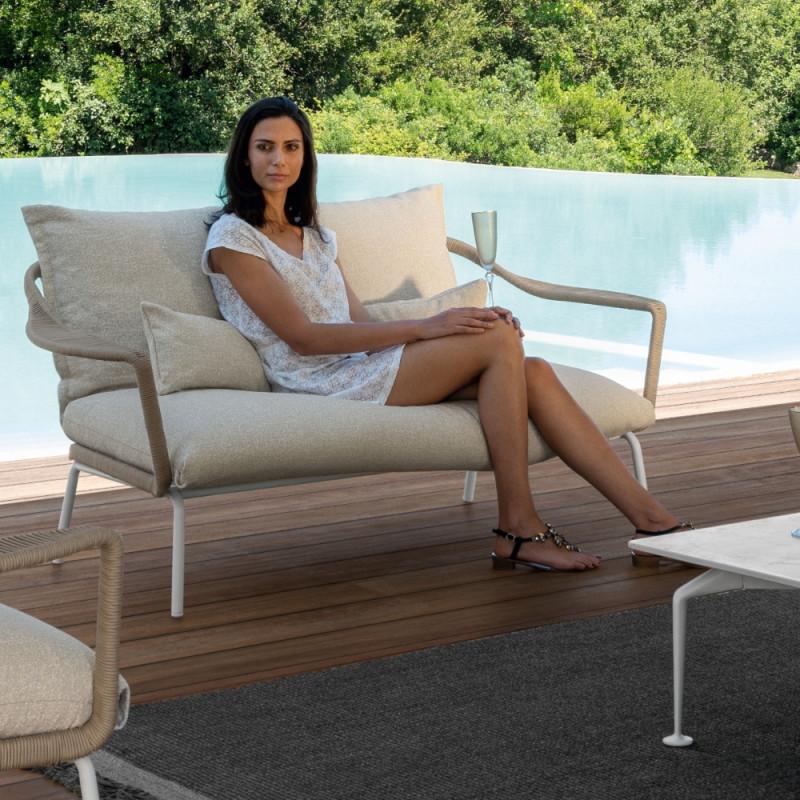 Talenti Cruise Alu Outdoor Love Seat White Beige