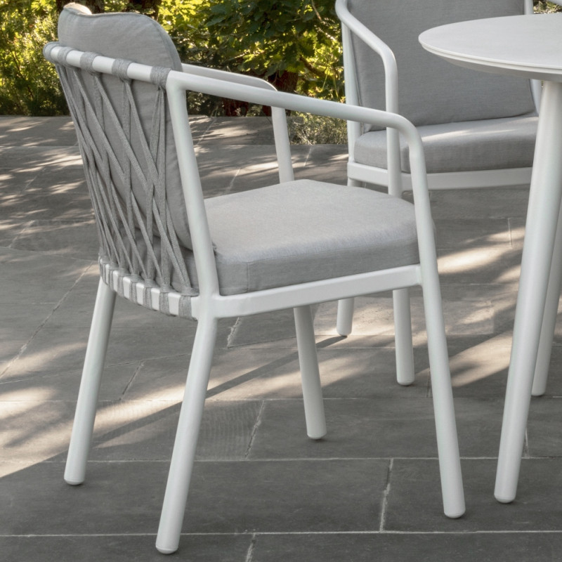 Talenti Sofy Outdoor Dining Chair in White and Soft Grey