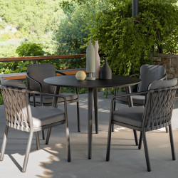Talenti Sofy Outdoor Dining Chair in Carbon and Dark Grey
