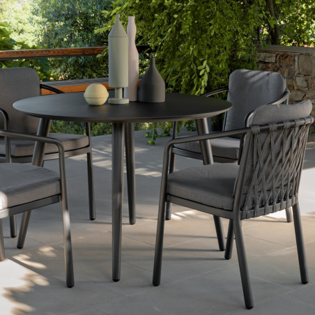 Talenti Sofy Outdoor Round Dining Table Carbon Aluminium