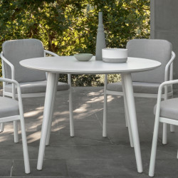 Talenti Sofy Outdoor Round Dining Table White Aluminium