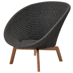 Cane-Line Peacock Outdoor Lounge Chair Soft Rope Grey