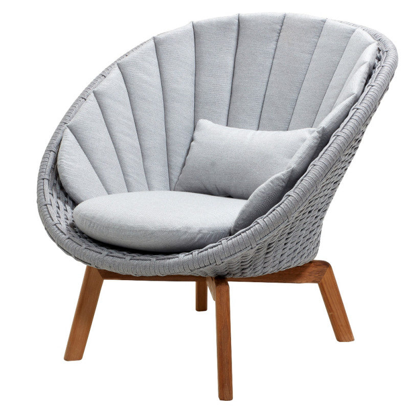 Cane-Line Peacock Outdoor Lounge Chair Soft Rope Light Grey