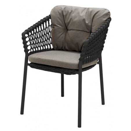 Cane-Line Ocean Outdoor Dining Chair Soft Rope Dark Grey