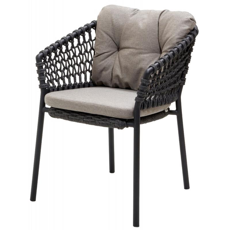 Cane-Line Ocean Outdoor Dining Chair Soft Rope Dark Grey