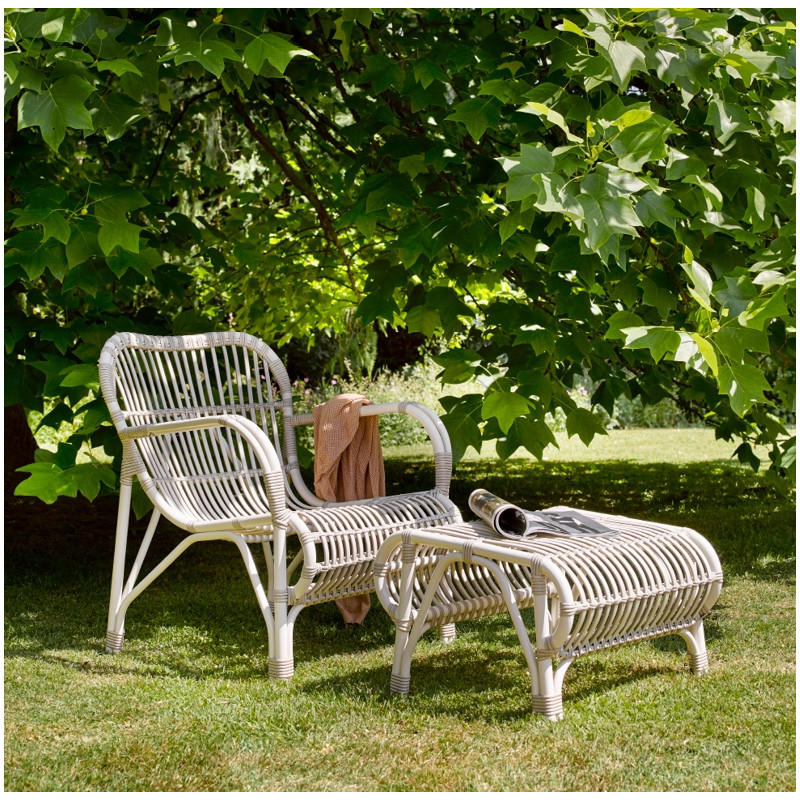 Vincent Sheppard Lazy Lucy White Wicker Outdoor Armchair with Footrest