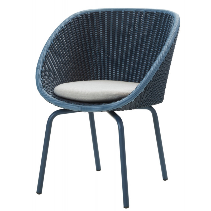 Cane-Line Peacock Outdoor Dining Chair Weave Midnight/Dusky Blue