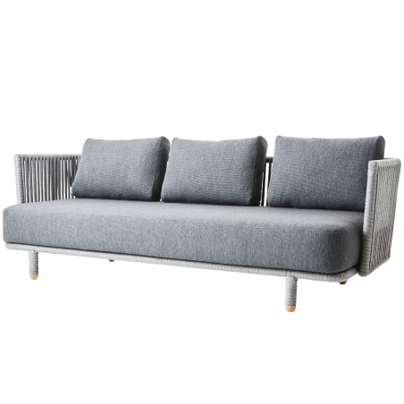 Cane-Line Moments Outdoor 3 Seater Sofa Soft Rope Grey