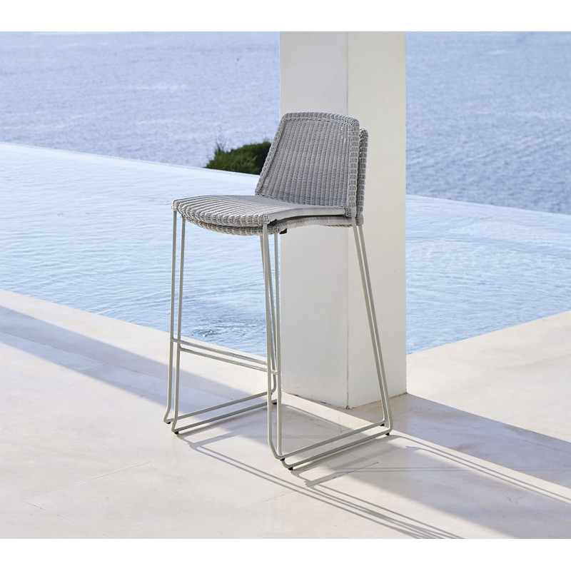 Cane-Line Breeze Outdoor Bar chair in Light Grey