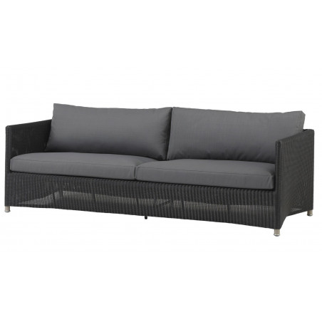 Cane-Line Diamond 3-seater Sofa in Weave Graphite