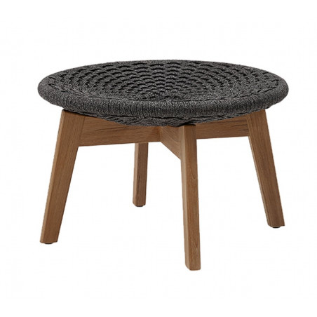 Cane-Line Peacock Foot Stool/ Coffee Table | Soft Rope Dark Grey