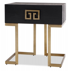 Black and Brass Bedside Table  Art Deco Style