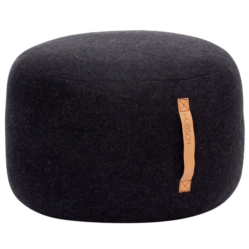 Hubsch Pouf In Black wool With Leather Handle
