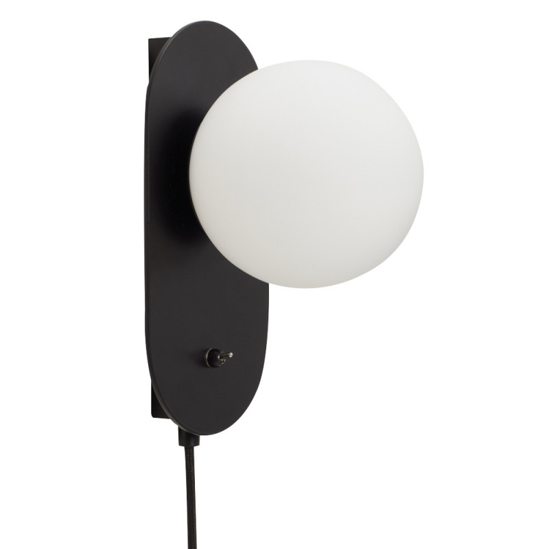 Hubsh Wall Lamp with Black Metal and Opal Glass