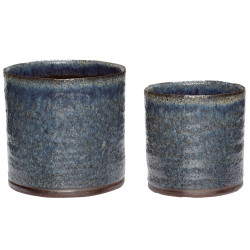 Hubsch Planters in Purple Ceramic   Set of Two