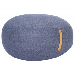Hubsch Pouf Herringbone Blue With Leather Handle Ø70 CM