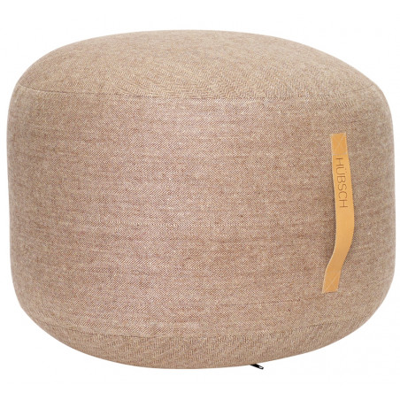 Hubsch Pouf Herringbone Brown Leather Handle Ø50 CM