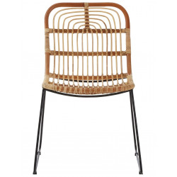 Rattan Dining Chair with Black Frame