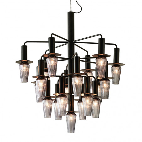 Design by Us Harakiri Chandelier Black Frame Smoke Glass