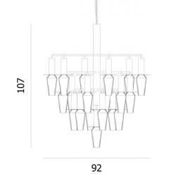 Design by Us Harakiri Chandelier Black Frame Smoke Glass