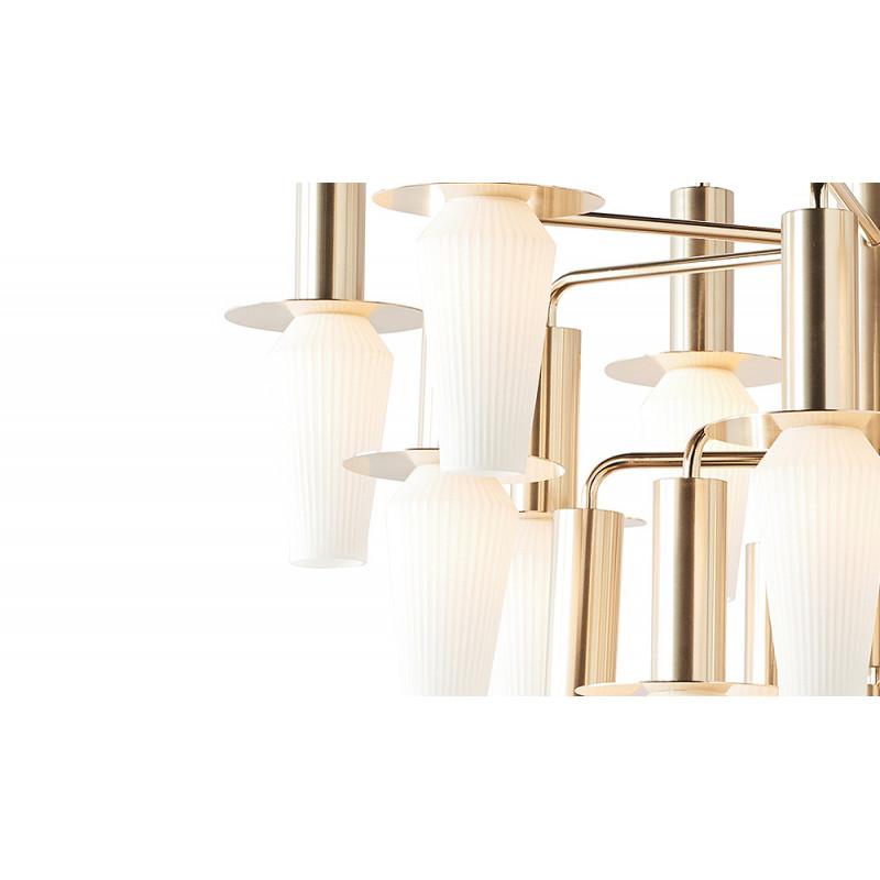 Design by Us Harakiri Chandelier Gold Frame Opal Glass