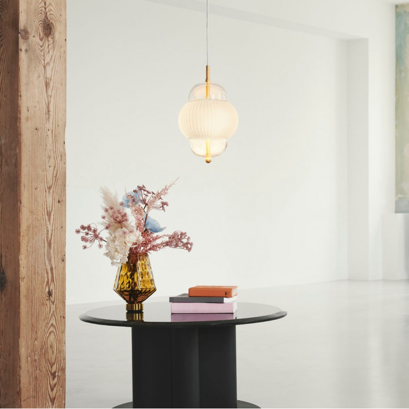 Design by Us Shahin Pendant Lamp Gold Opal Glass