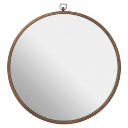 Round Wall Mirror with Bronze Frame
