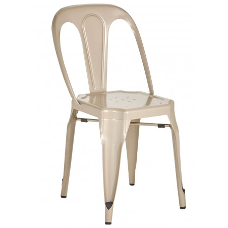 Industrial Metal Dining Chair in Champagne Finish