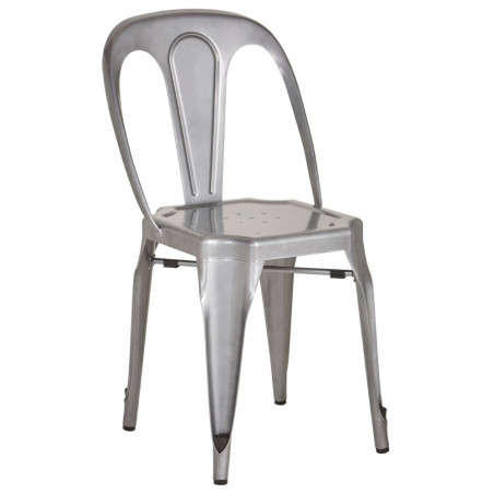 Industrial Metal Dining Chair In Grey Finish
