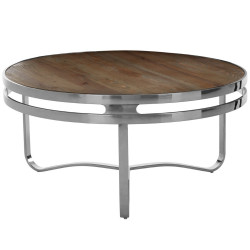 Rustic Pine Round Coffee Table With Metallic Silver Base