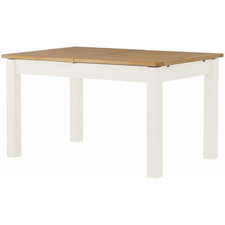 Farmhouse Extending Dining Table Oak Top White Legs