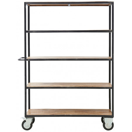 House Doctor Unit W.4 Wheels Shelving Unit Black Metal Wood