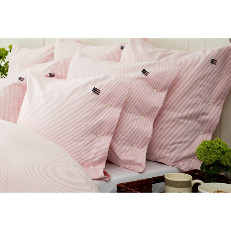 Lexington Pin Point Pink White Double Duvet Cover