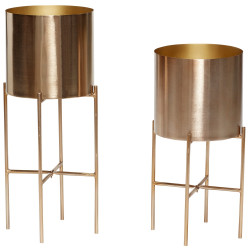 Hubsch Planters With Stand In Brass Finish Set of Two