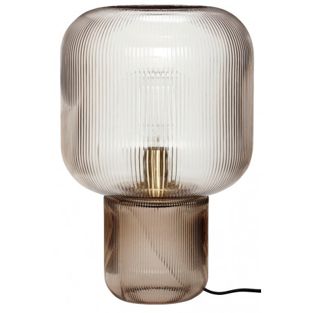 Hubsch Table Lamp with Smoked Ribbed Glass