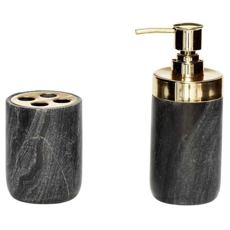 Hubsch Bath Series Marble and Brass, S/2