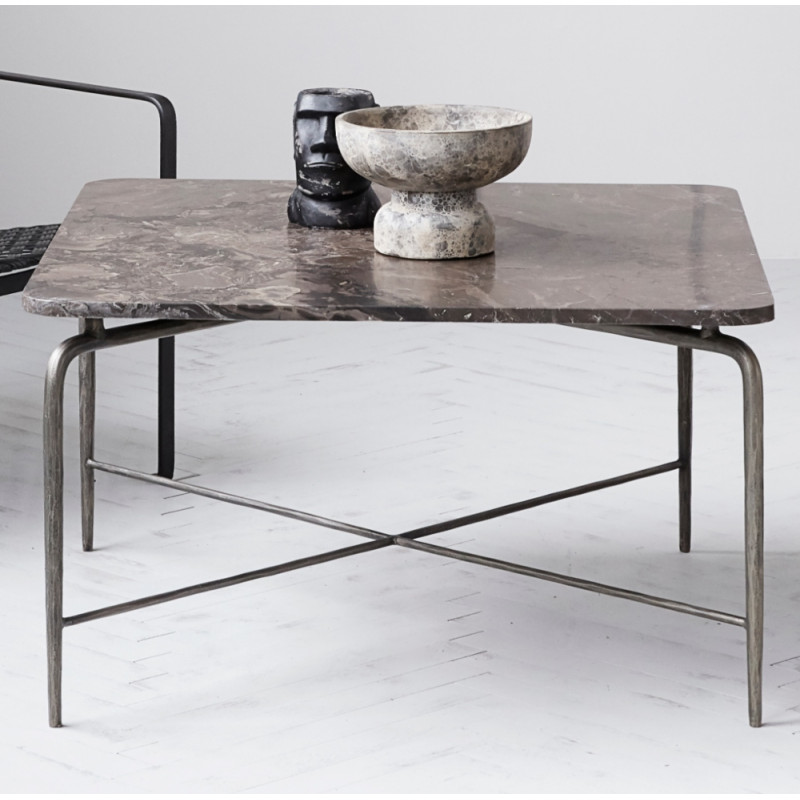 House Doctor Square Coffee Table Brown Marble