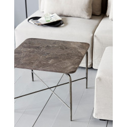 House Doctor Square Side Table Brown Marble