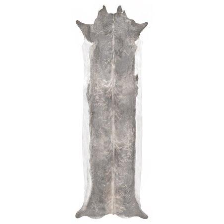 Super Long Stretched Cowhide Rug Bleached Large