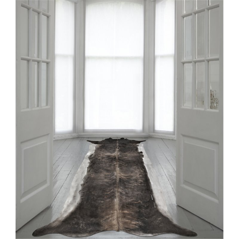 Super Long Stretched Cowhide Rug Bleached Medium