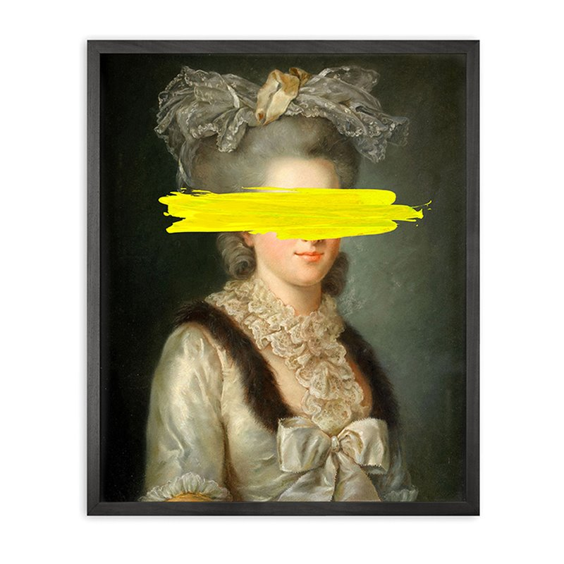 Yellow mark Framed Printed Canvas