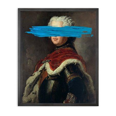 Blue Mark Framed Printed Canvas