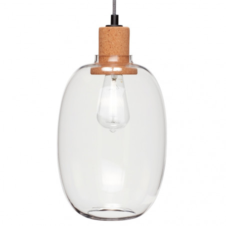 Hubsch Cork and Clear Glass Pendant Lamp